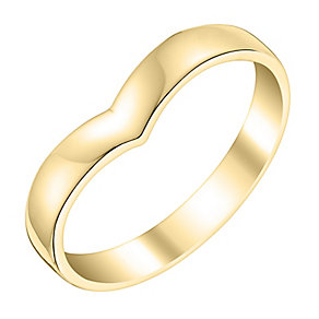 Ladies' 9ct Yellow Gold Shaped Wide Wedding Ring - Product number 3648672
