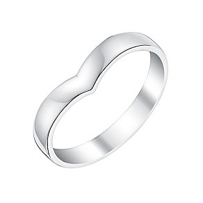 Ladies' 18ct White Gold Shaped Wide Wedding Ring - Product number 3649040
