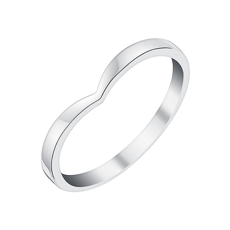 Ladies' Palladium Shaped Slim Wedding Ring - Product number 3650707