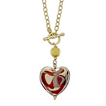 9ct yellow gold albert chain murano glass heart necklace - Product number 3653188