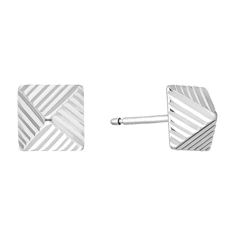 9ct white gold pyramid stud earrings - Product number 3658163