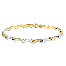 9ct two tone gold diamond cut wave bracelet - Product number 3659674