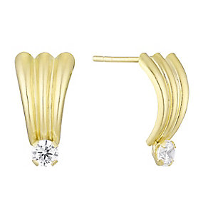 9ct yellow gold cubic zirconia fan stud - Product number 3660915