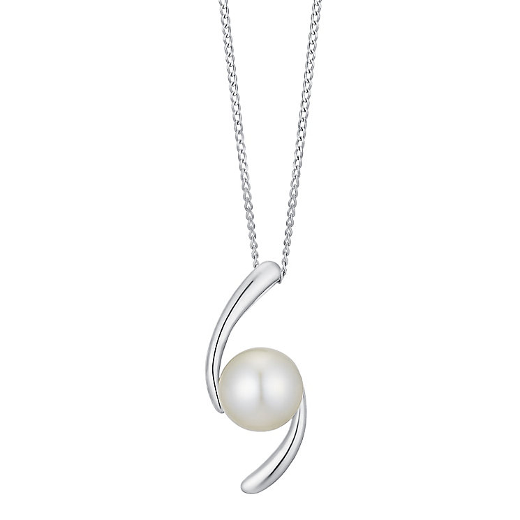 9ct white gold cultured freshwater pearl accent pendant - Product number 3661059