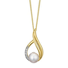 9ct yellow gold freshwater pearl & diamond tear drop pendant - Product number 3661067