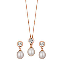 9ct rose gold pink freshwater pearl & morganite set - Product number 3661237