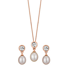 9ct rose gold pink freshwater pearl & morganite set - Product number 3661237