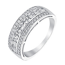 9ct white gold cubic zirconia three band ring - Product number 3662209