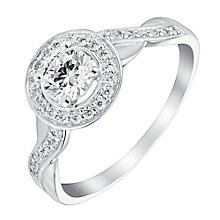 9ct white gold cubic zirconia twist shoulder ring - Product number 3662519