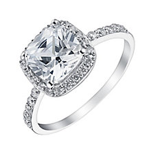 9ct white gold cubic zirconia cushion ring - Product number 3663027