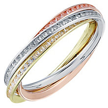 9ct yellow white and rose gold cubic zirconia ring - Product number 3663396