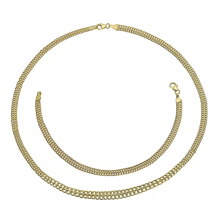 9ct gold necklet and bracelet set - Product number 3667235