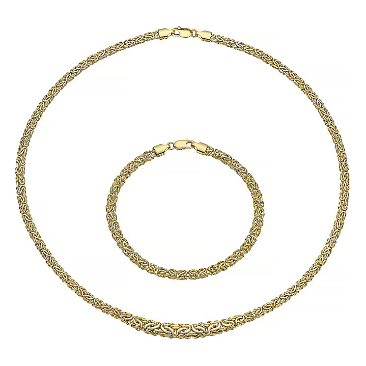 9ct gold necklet and bracelet set - Product number 3667243