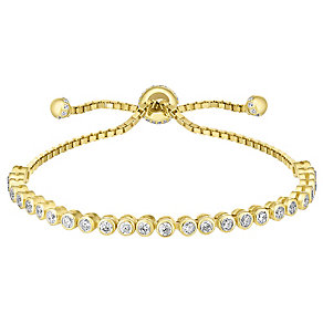 Gold-plated silver and cubic zirconia tennis bracelet - Product number 3667723