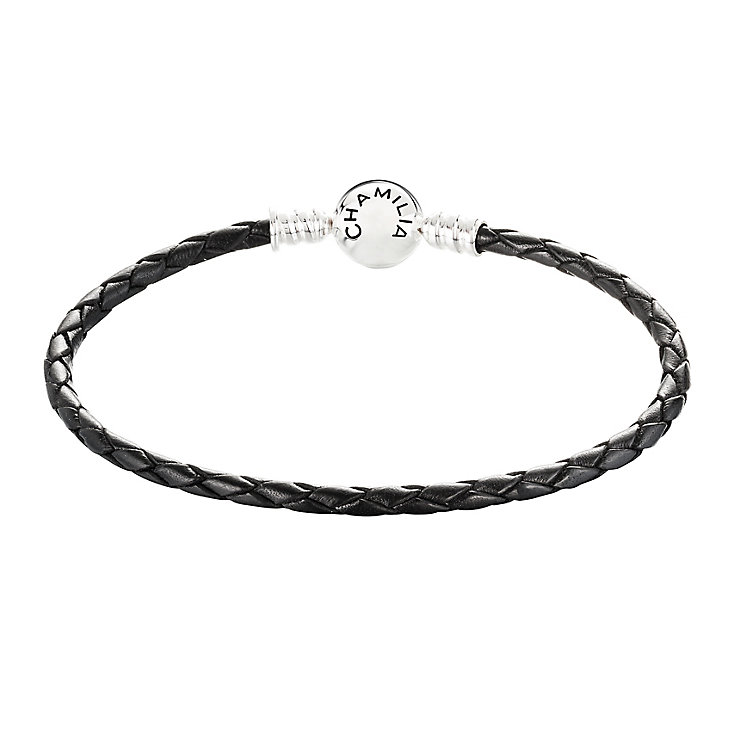 Chamilia Sterling Silver Black Leather 7.5in Bracelet - Product number 3667731