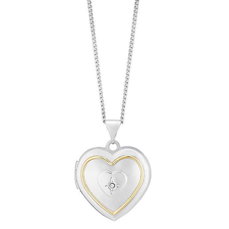 Sterling Silver & 9ct Gold Diamond Heart Locket - Product number 3667766