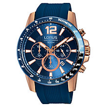 Lorus Men's Chronograph Blue Dial Blue Silicone Strap Watch - Product number 3669327