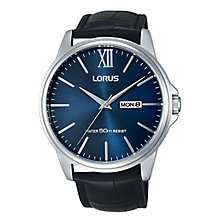 Lorus Men's Blue Dial Black Leather Strap Watch - Product number 3669343