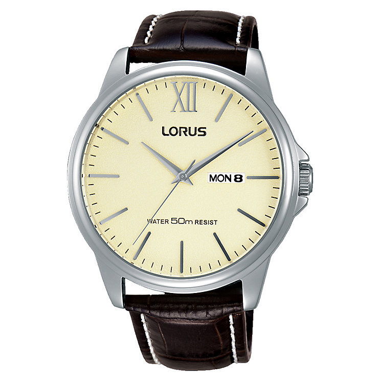 Lorus Gent's Crocodile Print - Brown Leather Strap Watch - Product number 3669351