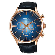 Lorus Gent's Chronograph Rose Godl Leather Strap Watch - Product number 3669378