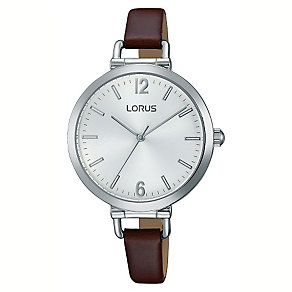 Lorus Ladies' Silver Dial Brown Leather Watch - Product number 3669564