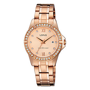 Lorus Ladies' Cyrstal Dial Rose Gold Watch - Product number 3669580