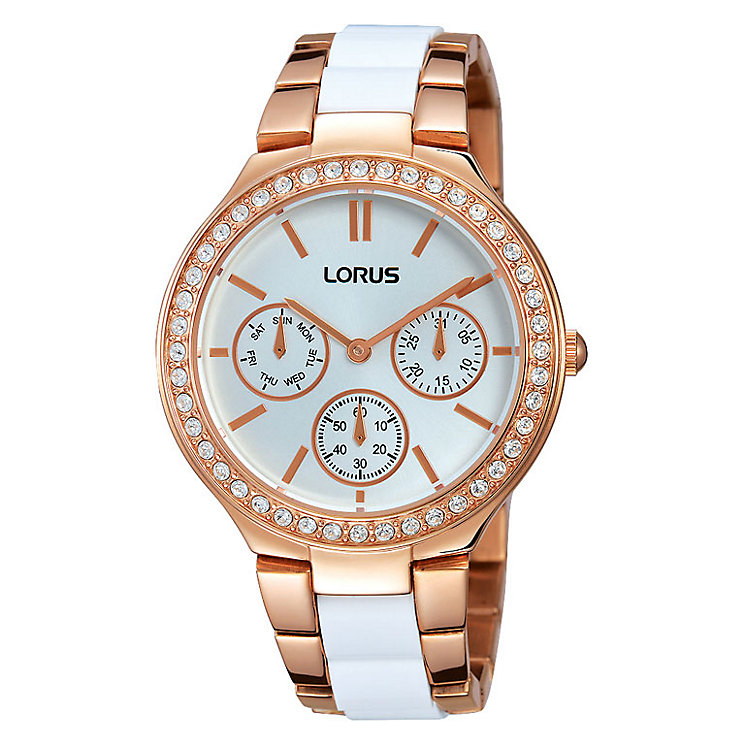 Lorus Ladies' Rose White & Gold-Plated Bracelet Watch - Product number 3669602