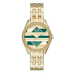 Armani Exchange Ladies' Stone Set Gold-Plated Bracelet Watch - Product number 3669939