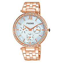 Pulsar Ladies' Stone Set Rose Gold-Plated Bracelet Watch - Product number 3671151