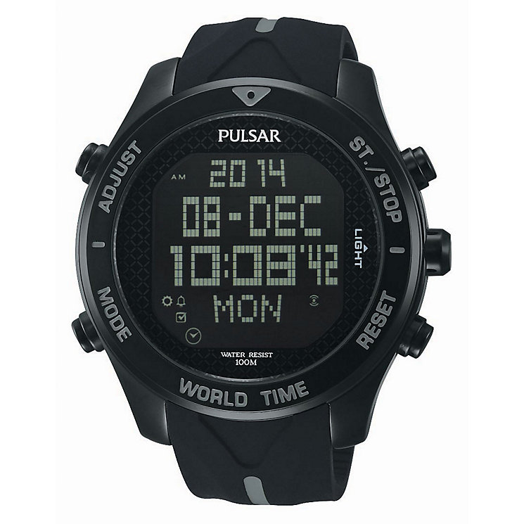 Pulsar Men's Black Dial Black Silicone Strap Watch - Product number 3671259
