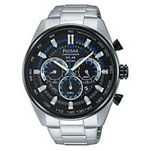 Pulsar Gent's Solar Powered Blue & Black Chronograph Watch - Product number 3671313