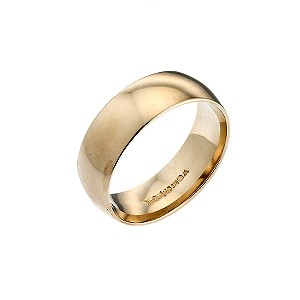 9ct Yellow Gold Extra Heavyweight 7mm Court Wedding Ring