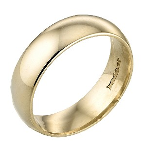 9ct Gold 6mm Plain Ring