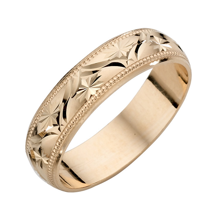 9ct Yellow Gold La s Patterned Wedding Band