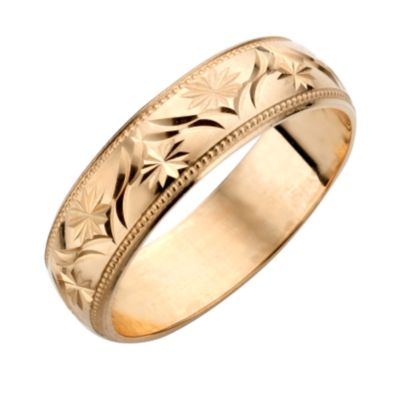 9ct Yellow Gold Mens Patterned Wedding Ring HSamuel