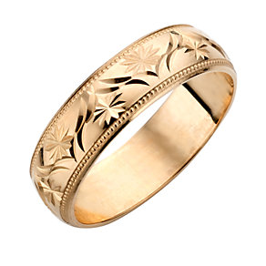 9ct Yellow Gold Men's Patterned Wedding Ring - Product number 3671968