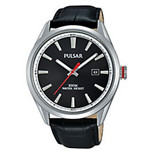 Pulsar Men's Black Dial Black Leather Strap Watch - Product number 3672468