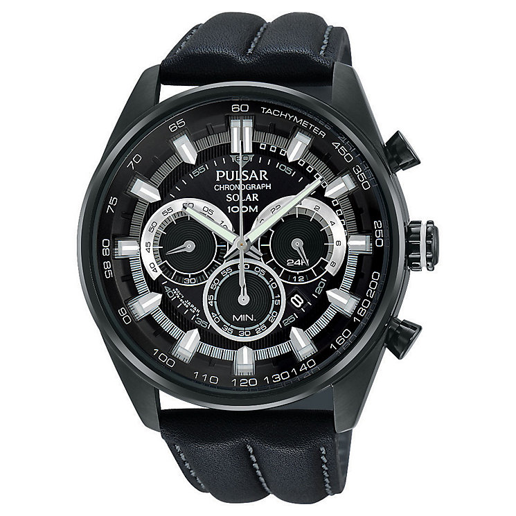 Pulsar Solar Men's Chronograph Black Leather Strap Watch - Product number 3672484