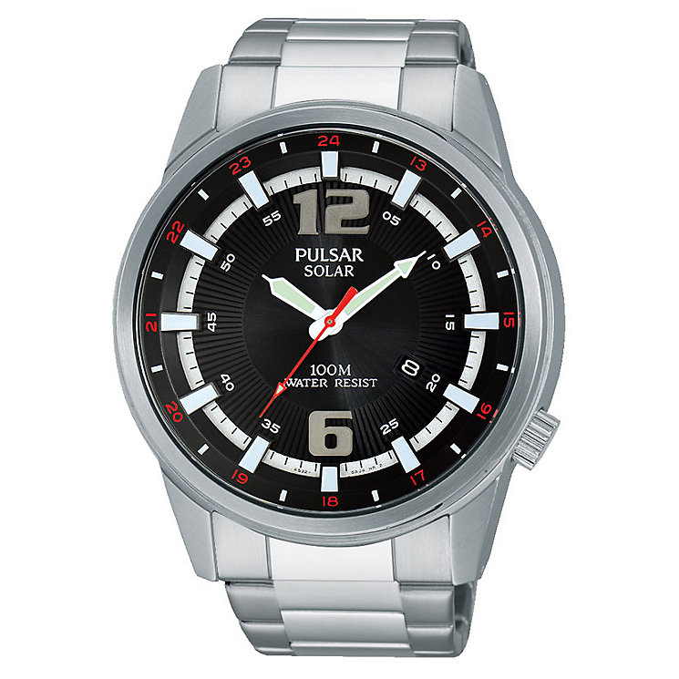 Pulsar Solar Men's Black Dial Stainless Steel Bracelet Watch - Product number 3672492