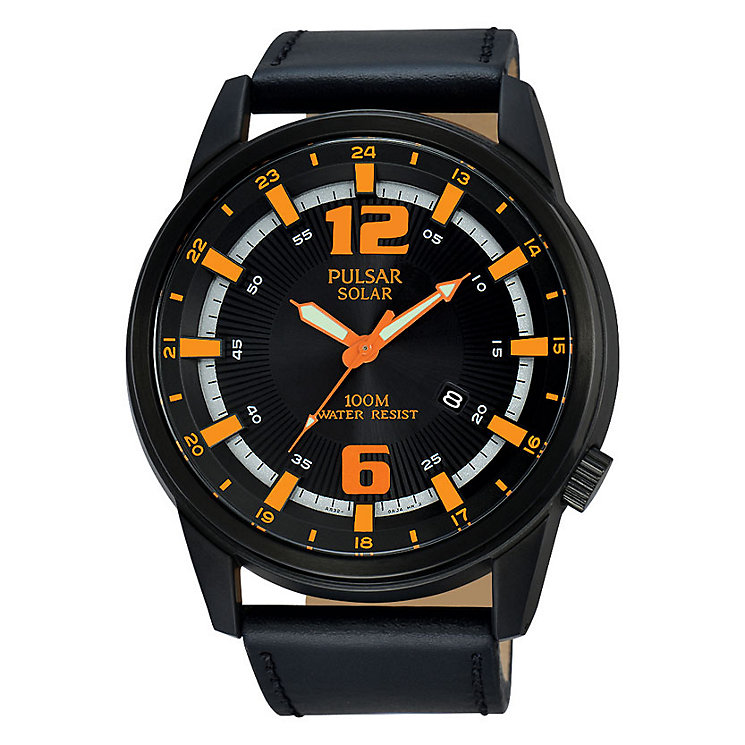 Pulsar Solar Men's Black Dial Black Leather Strap Watch - Product number 3672514