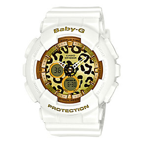 Casio Baby-G Gold Dial White Resin Strap Watch - Product number 3673529