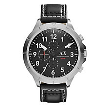 Armani Exchange Men's Black Dial Black Leather Strap Watch - Product number 3674177