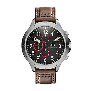 Armani Exchange Men's Black Dial Brown Leather Strap Watch - Product number 3674576