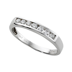 18ct white gold quarter carat diamond half-eternity ring - Product number 3675424