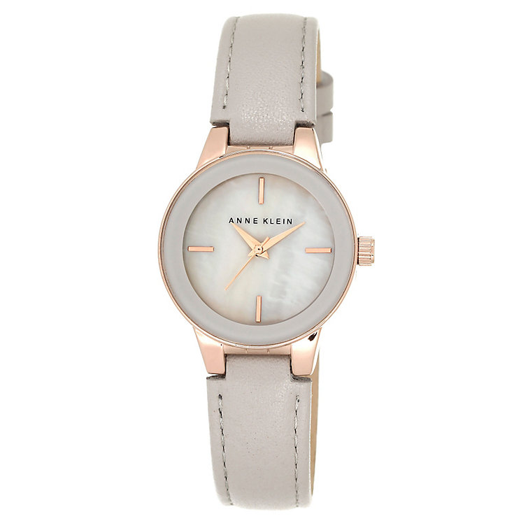 Anne klein ladies 39 mother of pearl grey leather strap watch h samuel for Anne klein leather strap