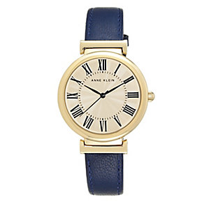 Anne Klein Ladies' Gold-Plated Blue Leather Strap Watch - Product number 3690458