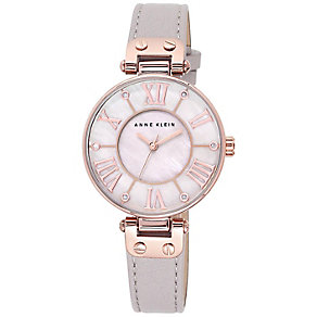 Anne Klein Ladies' Mother Of Pearl Grey Leather Strap Watch - Product number 3690660