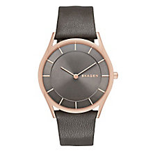 Skagen Ladies' Grey Dial Rose Gold Grey Leather Strap Watch - Product number 3690687