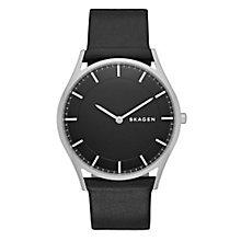 Skagen Men's Black Dial Black Leather Strap Watch - Product number 3690695