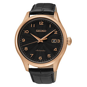 Seiko Men's Automatic Black Dial Black Leather Strap Watch - Product number 3690725